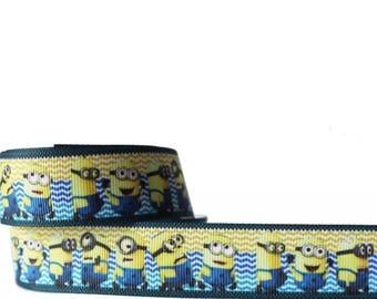 Minions lilac and blue design 1M Grosgrain Ribbon