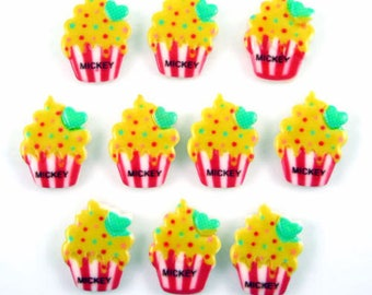 SET of 4 cabochon cupcake red yellow color APPLIQUE paste mickey