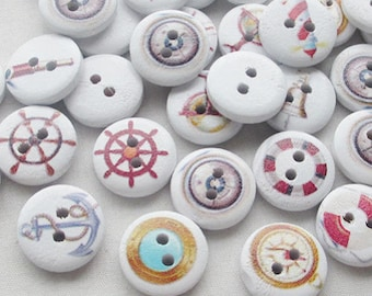 10 wooden buttons 15mm round shape