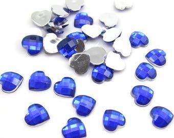Set of 10 Rhinestone Heart Blue 12 MM cabochon