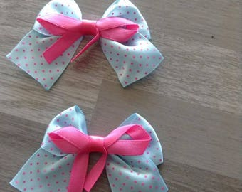 5 flower applique blue satin bow has pink polka dots