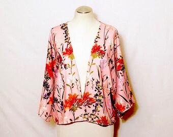 Short Floral Kimono, Women's clothing, Oversized top, Summer Jacket, Kimono cardigan, Evening Jacket, Gift for her, Boho,  Loose Cardigan