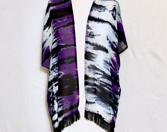 Tie Dye kimono, summer jacket, Sheer kimono, Beach cover up, Women's clothing, Tribal duster, Festival wear, Ponchos