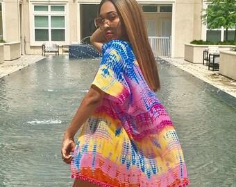 Pom Pom Pink tie dye kimono, Beach wear, Vacation, Summer Jacket, Beach coverup, Sleeveless Cardigan, Kimono Cardigan, Sheer Jacket, Women's