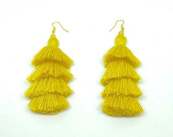 Tassel Earrings, Tiered Tassel Earrings, Summer Jewelry, Fringe Earrings, Beach Earrings, Layer Tassels, Long Earrings