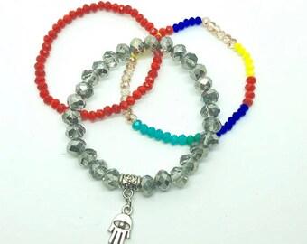 Stretchy bracelet set, Boho bracelets, Women's jewelry, Arm Candy, Beaded bracelet, Unisex bracelet set, Stacking bracelets, Colorful set