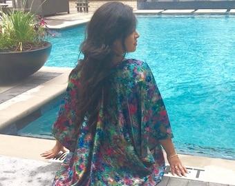 Sale, Floral Boho Kimono, Beach Kaftan, Beach coverup, Silk Satin Kimono, Summer Jacket , Summer Fashion, Gifts for her, Bohemian clothing