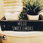 Hello sweet cheeks toilet paper box, toilet box, bathroom decor, farmhouse, bathroom storage, bathroom humor