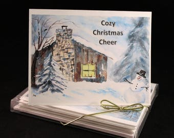 Snowy cozy cottage Watercolor PRINT- Greeting Cards/ Note Cards  (Set of four), Christmas Cards, winter cards