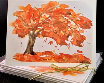 Autumn (Fall) Tree with Leaves Falling Watercolor Card Set