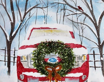 Red Ford Truck Front with Christmas Wreath ORIGINAL Watercolor Painting,  Christmas Painting, Original Art, watercolor Christmas