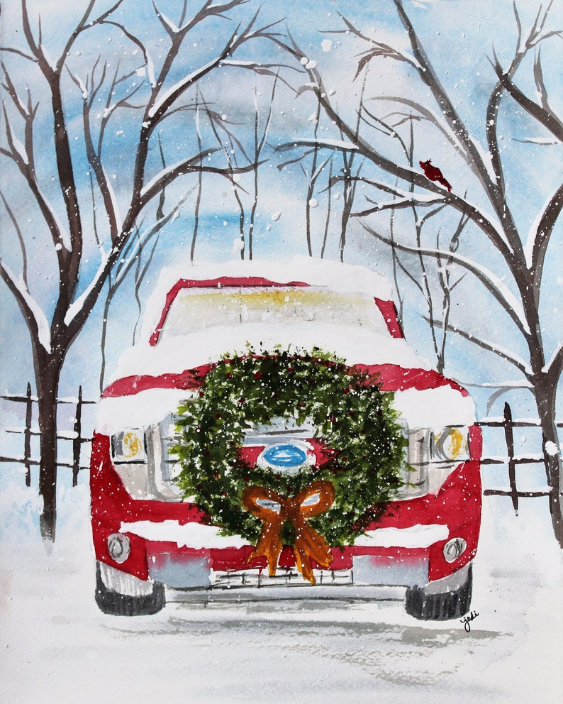 Old Truck With Christmas Tree Painting.Red Ford Truck Front With Christmas Wreath Original Watercolor Painting Christmas Painting Original Art Watercolor Christmas