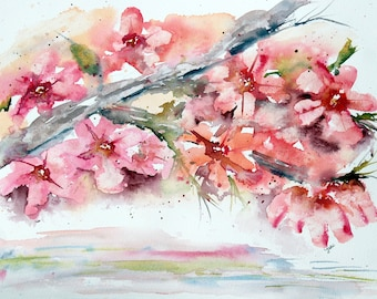 PINK  Dogwood original watercolor painting, 11x14 , pink watercolor flower, dogwood painting