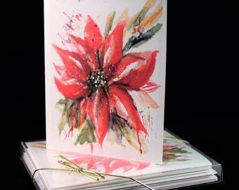 Red Poinsettia  Original Watercolor PRINT- Greeting Cards/ Note Cards  (Set of four), Christmas Cards, Winter