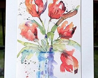 Original Impressionistic Tulips in Jar   Watercolor Painting PRINT, Watercolor Painting, Spring Painting, Spring Flower Painting, Home Decor
