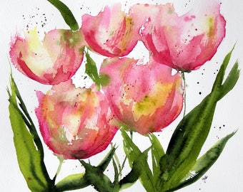 PRINT (5x7) of pink apricot Watercolor Painting, tulip Painting, Watercolor tulips