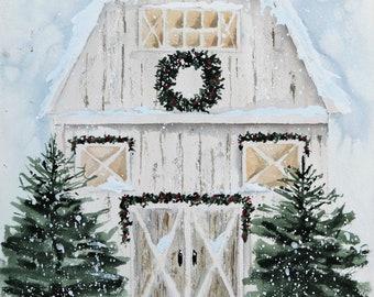 Snowy White Winter Barn Watercolor Print of Original Painting