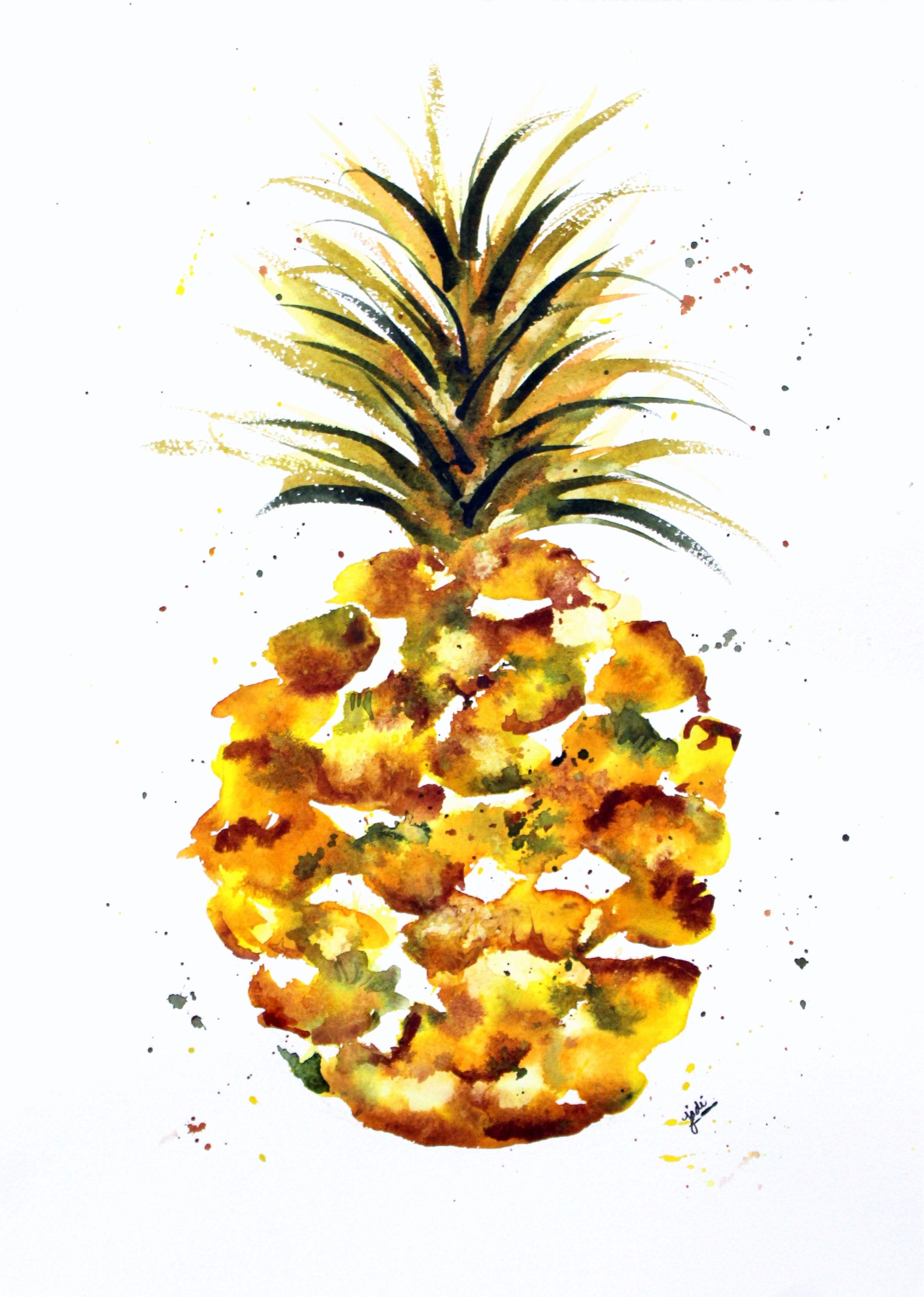 Pineapple Watercolor Print Fruit Painting Pineapple Etsy