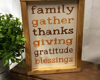 Family, gather, thanksgiving sign, rustic fall sign, fall homedecor