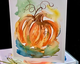 Abstract Pumpkin Orange Blue Green 2021 Watercolor Card Set