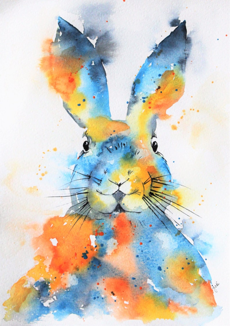 Bunny Watercolor Print of Original Painting Watercolor bunny image 0