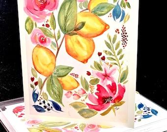 Set of Original PRINT Watercolor Greeting / Note Cards - Lemons and Pink Flowers (Set of 4)