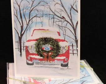 Set of Red Ford truck with christmas wreath Original Watercolor PRINT- Greeting Cards/ Note Cards  (Set of four), christmas Cards, Winter