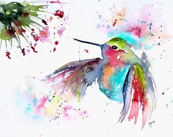 8 x 10 PRINT of hummingbird original watercolor painting, hummingbird watercolor, hummingbird painting