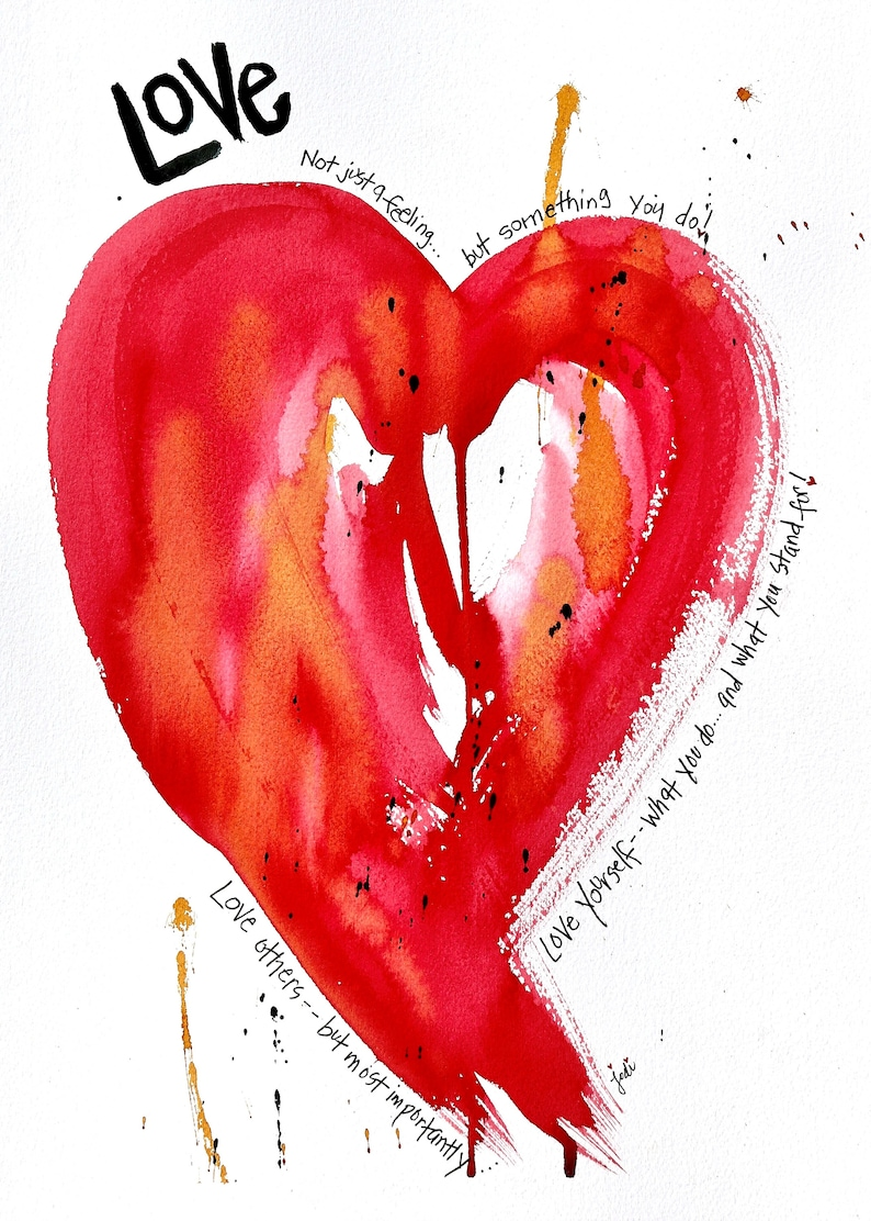 Love Yourself Heart Watercolor Painting PRINT image 0