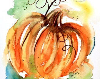 Abstract Pumpkin Watercolor Print of Original Painting in Orange and Blue and Green