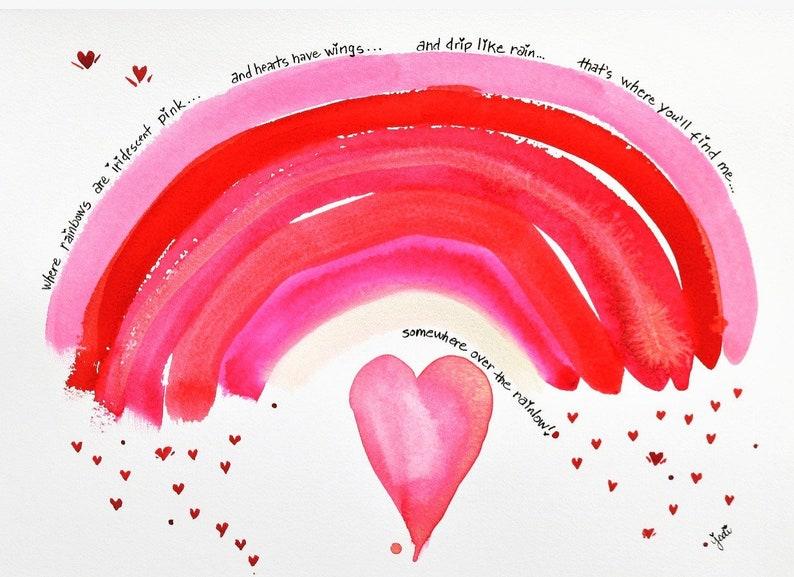PRINT of original watercolor pink rainbow and raining hearts image 0