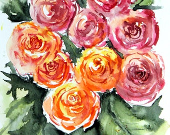 PRINT (5x7) of pink and orange roses  Watercolor Painting, roses Painting, Watercolor rose painting