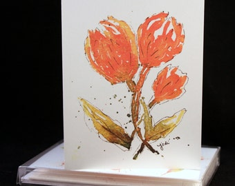 Orange Tulip Original Watercolor PRINT Note Card Set, Watercolor Cards, Flower Cards,  Mothers Day Card, Birthday Card, Get Well Soon Card