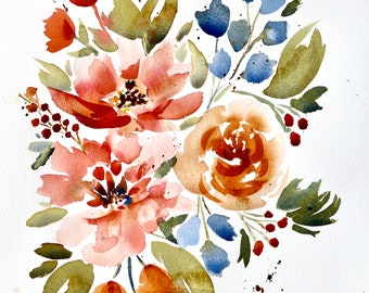 ORIGINAL Copper Peach and Blue Abstract Floral Watercolor - 11 x 14