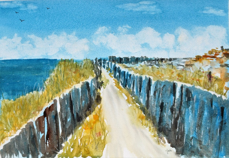 ORIGINAL Watercolor pathway to cliffs of Moher Ireland image 0