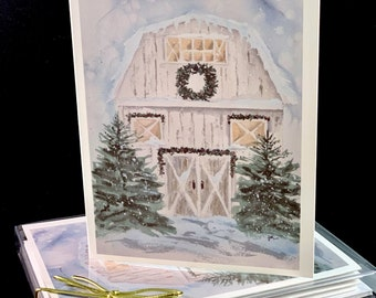 Snowy White Winter Barn Original Watercolor PRINT- Greeting Cards/ Note Cards  (Set of four), christmas Cards, Winter cards