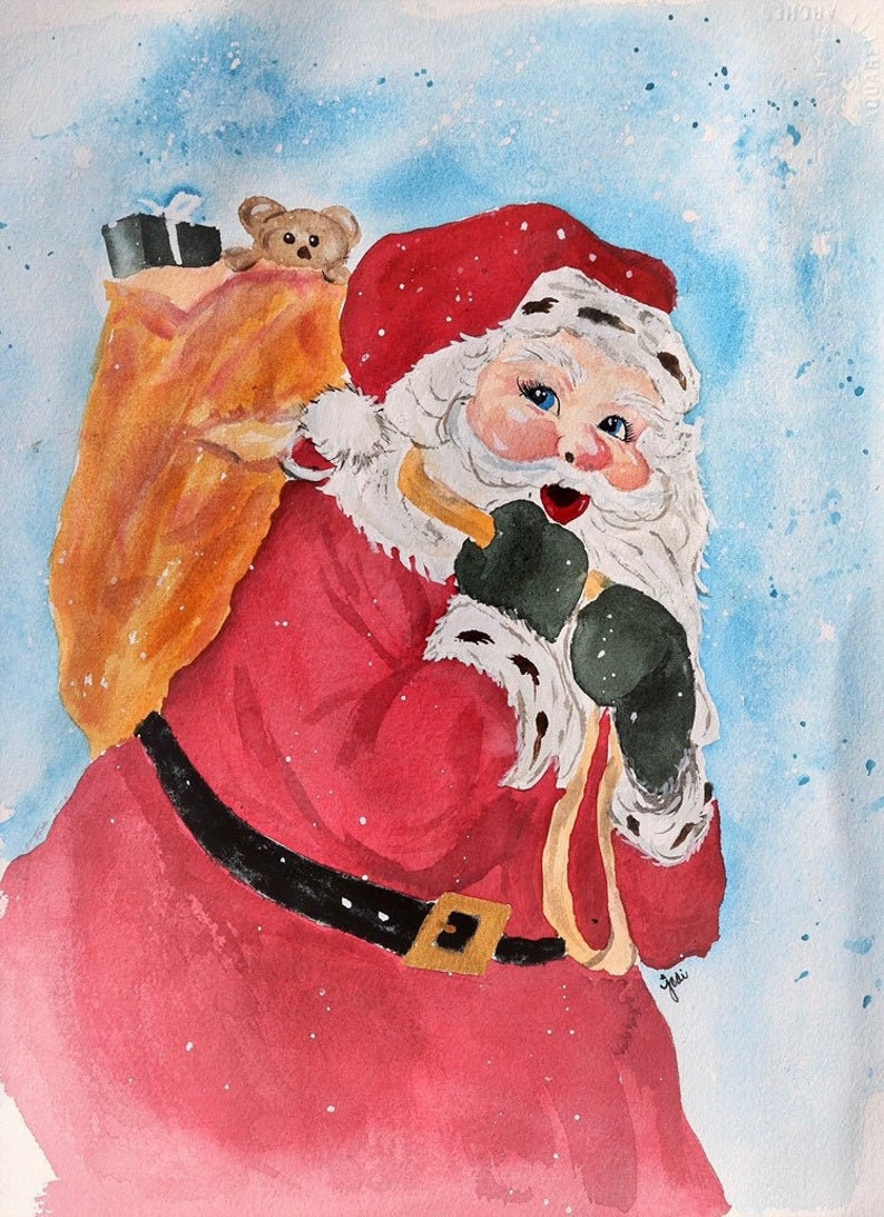 Old fashioned Santa Claus christmas Watercolor PRINT image 0