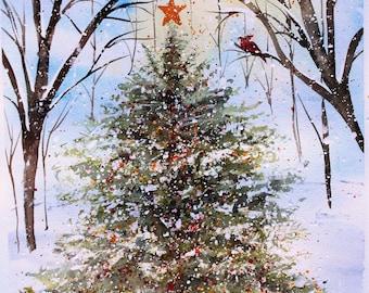 Woodland Christmas Tree Watercolor PRINT, christmas painting,  Christmas Tree painting, wall hanging