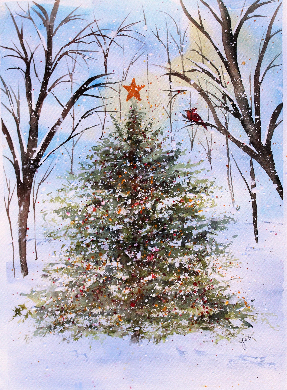 Woodland Christmas Tree Watercolor Print Christmas