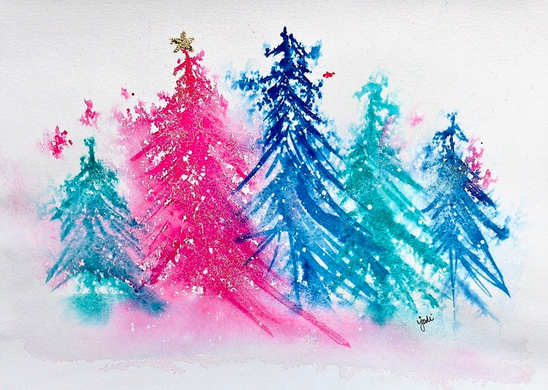 Sparkly pink and blue trees watercolor image 0