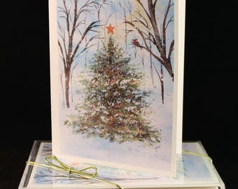 Set of Woodland Christmas Tree Original Watercolor PRINT- Greeting Cards/ Note Cards  (Set of four), christmas Cards, Winter cards
