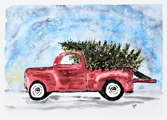 Old Truck With Christmas Tree Painting.Old Fashioned Red Truck Christmas Watercolor Print Christmas Painting Red Truck Painting Wall Hanging