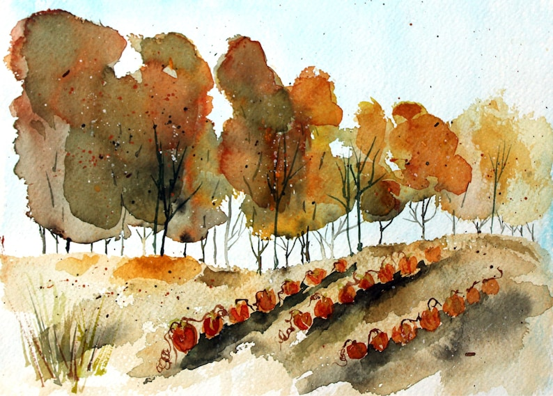 e43817ca1e632e Watercolor pumpkin patch PRINT watercolor pumpkins fall