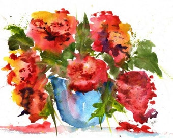 "Red Floral original watercolor painting, 9"" x 11"", flower painting, watercolor flowers, wall hanging, home decor, watercolor flowerpot"
