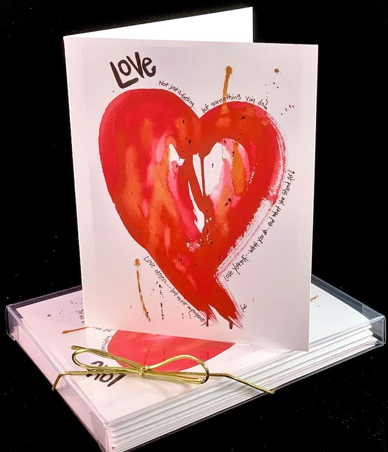 Set of Original PRINT Watercolor Love Yourself Heart Cards image 0
