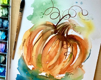 Abstract Pumpkin in Orange and Blue and green Watercolor Original Painting 11x14