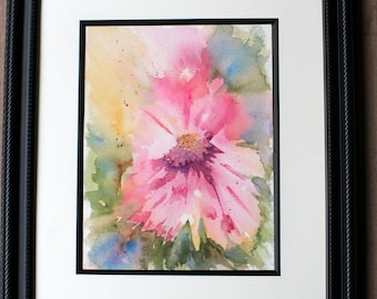 Pink abstract original watercolor flower, 10 x 14 pink watercolor flower, wall hanging, home decor