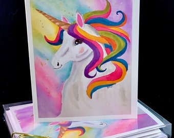 Set of Original PRINT Watercolor Magical Unicorn cards,  Note Cards/Greeting Cards (Set of Four)