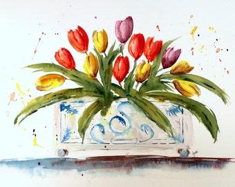 Original watercolor PRINT , tulip bunch in planter, watercolor tulips, watercolor wall hanging, spring tulips