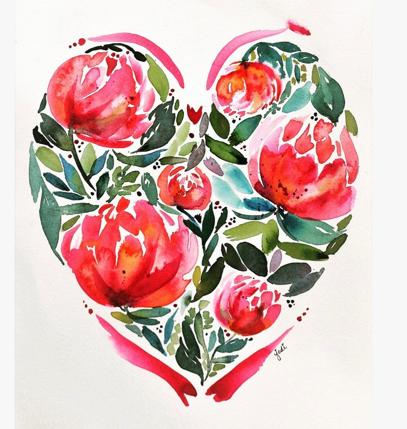 Original watercolor heart watercolor Valentines Day decor image 0